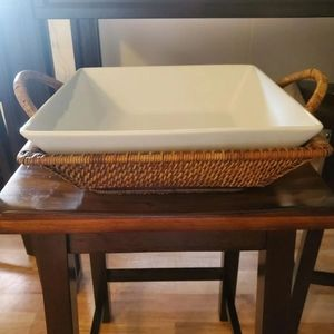 "Pampered Chef 13"" Glass Salad Bowl Wicker Basket"